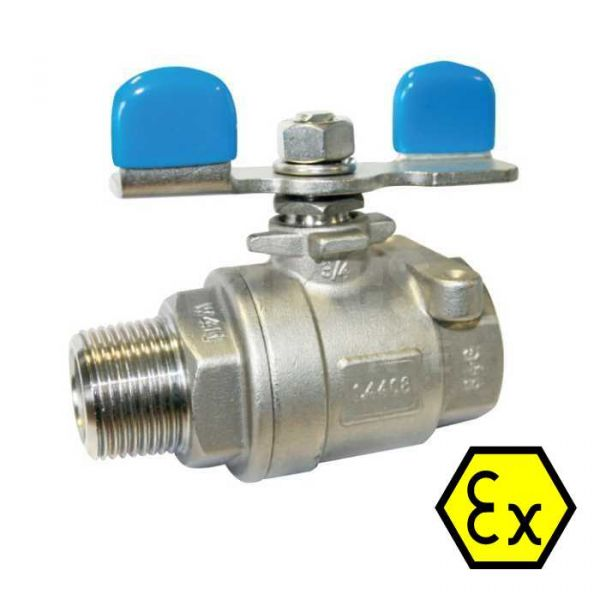 2 Piece Stainless Steel Ball Valve Male/Female with Butterfly Handle
