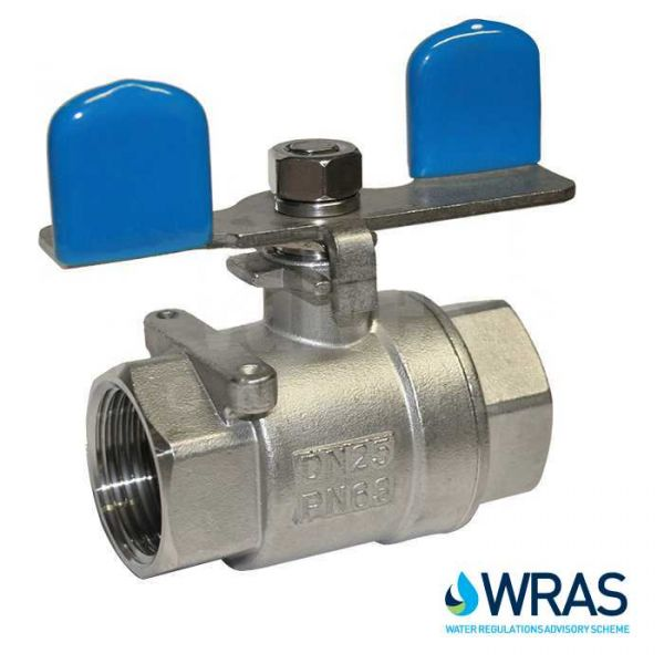 2 Piece Stainless Steel Ball Valve with Butterfly Handle - WRAS Approved