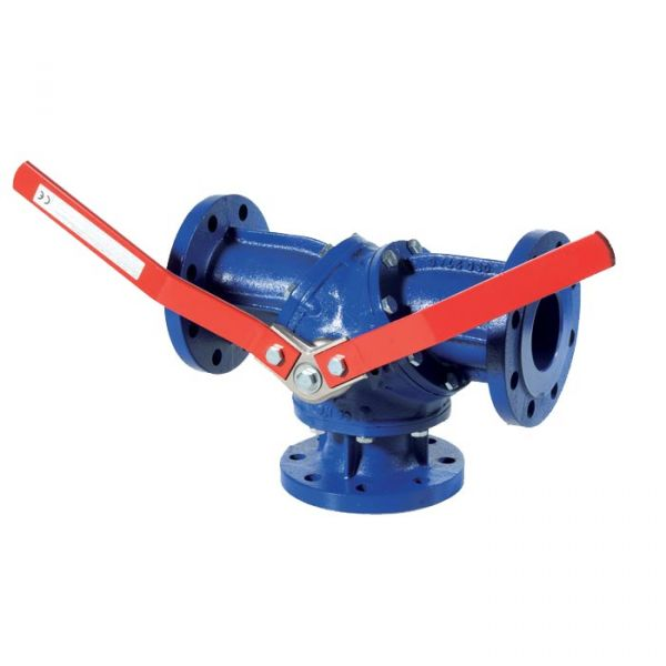 Cast Iron Ball Valve 3 Way Diverter Flanged PN16 T Port