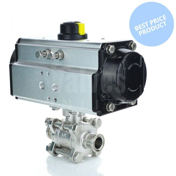 Economy Pneumatic Actuated Sanitary Ball Valve - Clamp Ends