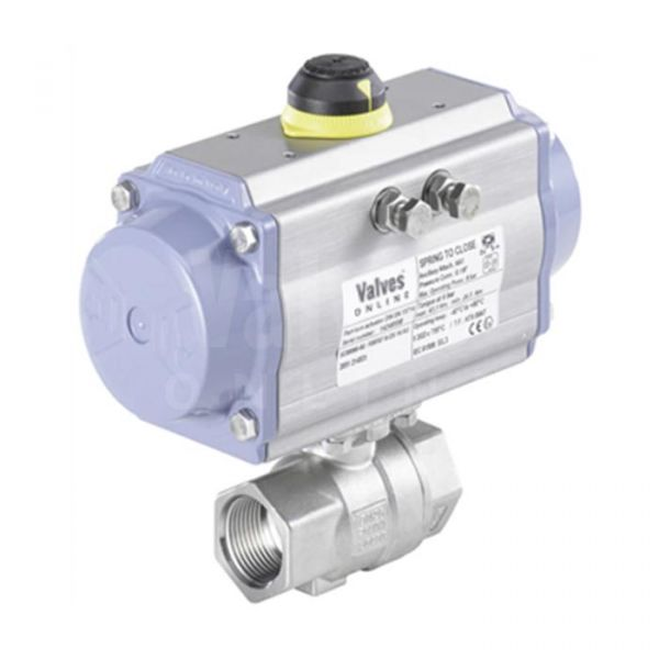Air Actuated Stainless Steel 2-Piece Ball Valve 1/4