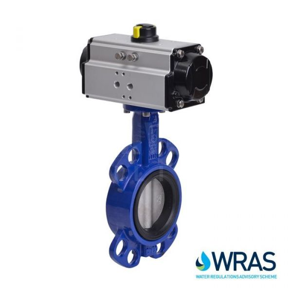 Pneumatic Actuated WRAS Approved Wafer Pattern Butterfly Valve