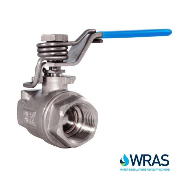 Stainless Steel Ball Valve with Spring Close Handle - WRAS Approved