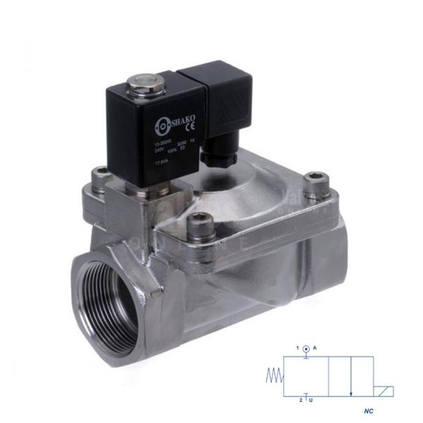 Stainless Steel Solenoid Valve Servo Assisted 3/8