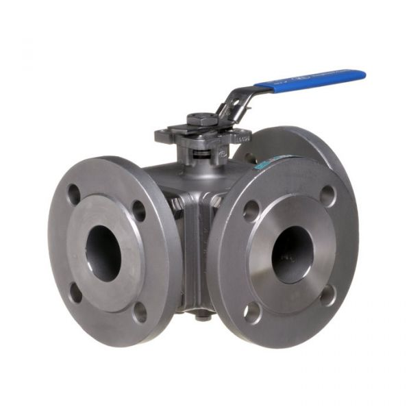 ANSI 150 Direct Mount 3 Way Stainless Steel Ball Valve
