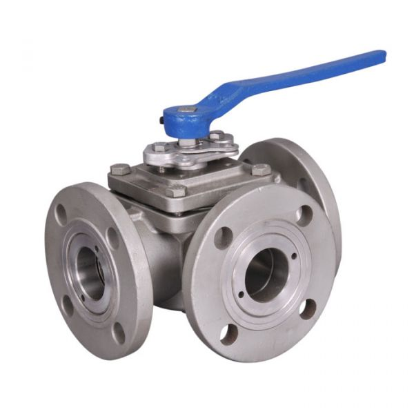 3 Way PN16 Flanged Manual Stainless Steel Ball Valve