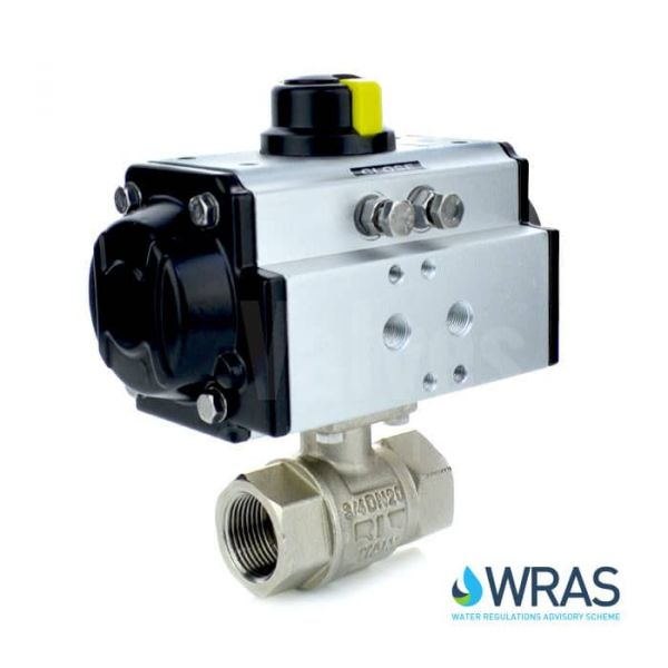 Pneumatic Actuated Screwed 2 Way Brass Ball Valve WRAS Approved