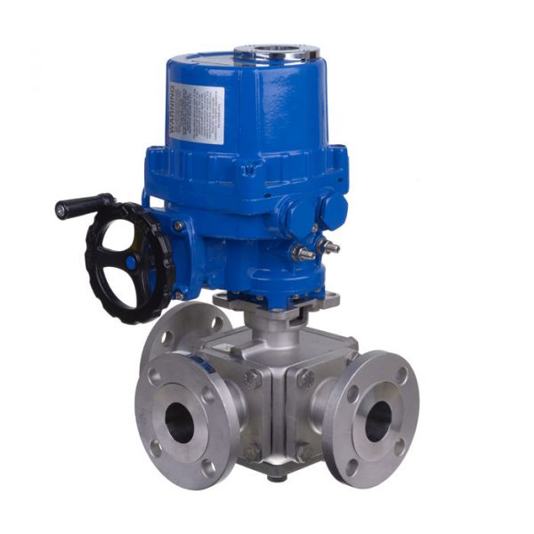 Electric Actuated 3 Way Flanged Stainless Steel Ball Valve