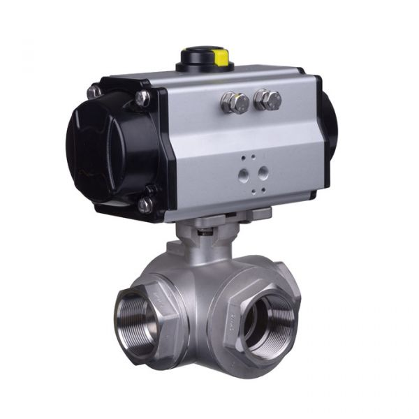 Pneumatic Actuated Series 39 3 Way Stainless Steel Ball Valve