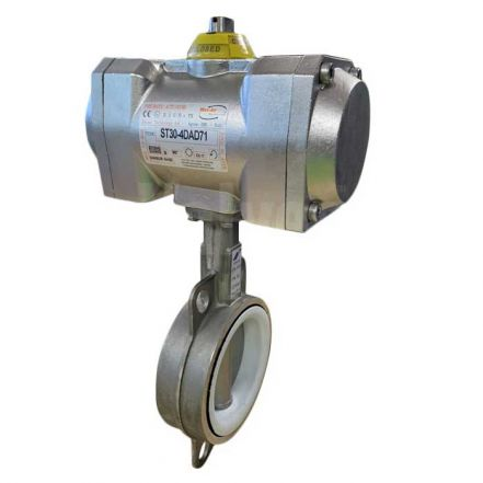 All Stainless Steel Pneumatic Actuated Butterfly Valve