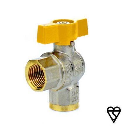 Brass Female x Female Angle Pattern Ball Valve - EN331 Gas