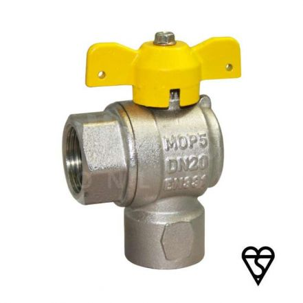 Brass Female x Female Angle Pattern Ball Valve - EN331 Gas