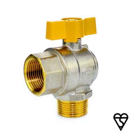 Brass Male x Female Angle Pattern Ball Valve - EN331 Gas