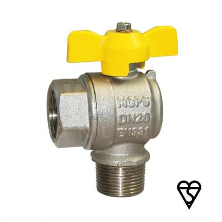 Brass Male x Female Angle Pattern Ball Valve - EN331 Gas