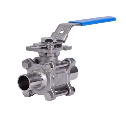 3 Piece Stainless Steel Sanitary Ball Valve - Weld OD