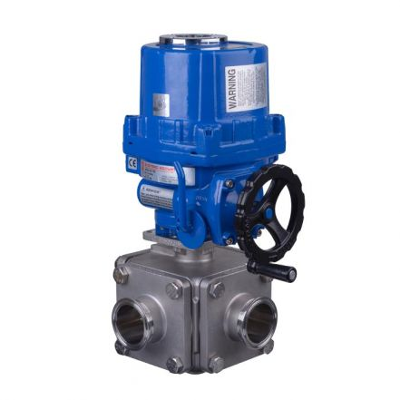Electric Actuated Series 36SN 3 Way Hygienic Ball Valve