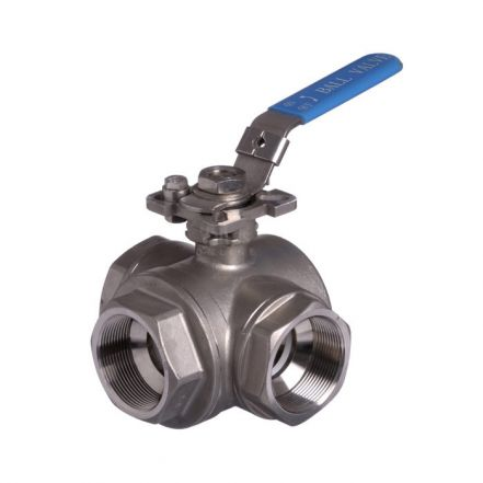 Stainless Steel Ball Valve 3 Way Screwed Reduced Bore Direct Mount