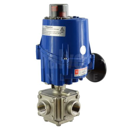 Series 33 Electric Actuated 3 Way Full Bore Stainless Steel Ball Valve