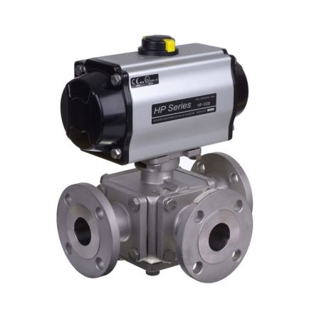 Series 33 Pneumatic Actuated 3 Way Flanged Stainless Steel Ball Valve