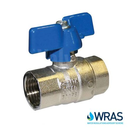 WRAS Approved Brass Ball Valve - Blue Butterfly Handle