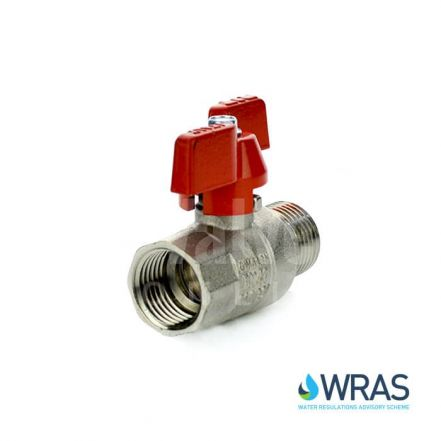 WRAS Approved Male x Female Brass Ball Valve - Red Butterfly Lever