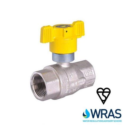Brass Ball Valve BSI Gas Approved Butterfly Handle