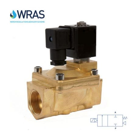 "Brass Solenoid Valve 0.5-16 Bar Rated WRAS Servo Assisted 3/8"" - 2"""