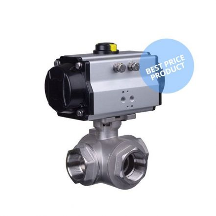 Economy 3 Way Pneumatic Actuated Stainless Steel Ball Valve