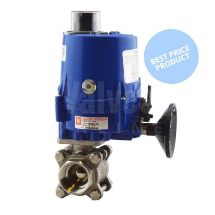 Electric Actuated Economy 3 Piece Screwed Stainless Steel Ball Valve