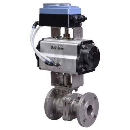 PN16 Flanged Pneumatic V Sector Ball Control Valve