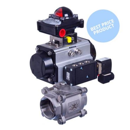 Pneumatic Actuated Economy 3 Piece Stainless Steel Ball Valve