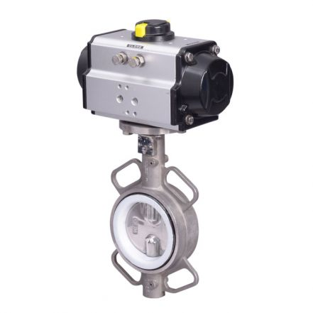 Pneumatic Actuated Butterfly Valve Stainless Steel Wafer Pattern