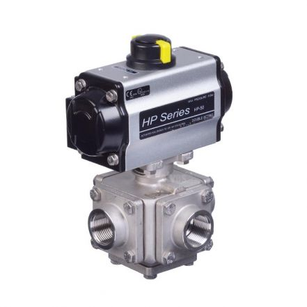 Series 33 Pneumatic Actuated 3 Way Full Bore Ball Valve