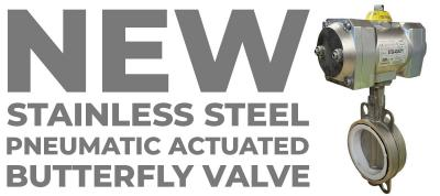 New Stainless Steel Pneumatic Actuated Butterfly Valve