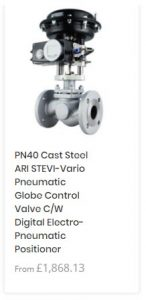 PN40 Cast Steel ARI STEVI-Vario Pneumatic Globe Control Valve C/W Digital Electro-Pneumatic Positioner