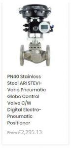 PN40 Stainless Steel ARI STEVI-Vario Pneumatic Globe Control Valve C/W Digital Electro-Pneumatic Positioner
